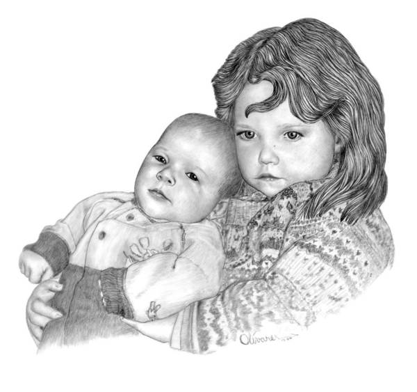 Drawing - Emma And Brother by Joe Olivares