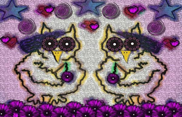 Orchid Mixed Media - Emo Owls by Pepita Selles