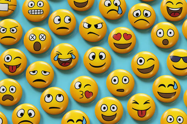 Emoji Badges On Blue Background Art Print by Dimitri Otis