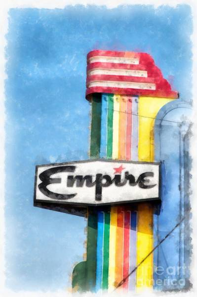 Vintage Neon Sign Photograph - Empire Movie Theater Neon Sign by Edward Fielding