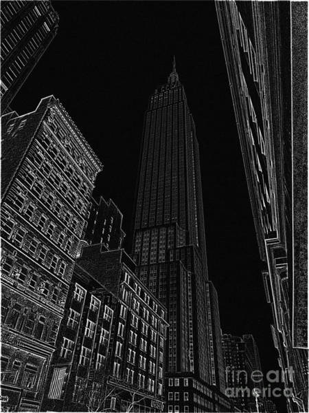 The Empire State Building Digital Art - Empire Nyc White On Black by Meandering Photography