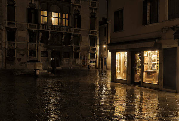 After Dark Photograph - Winter's Night In Venice by Marion Galt