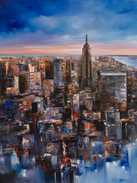 Nyc Skyline Painting - Empire Rising Tall by Manit
