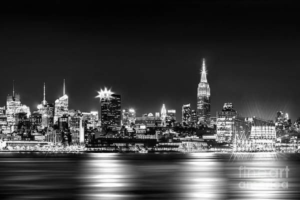 New Jersey Photograph - Empire State At Night - Bw by Az Jackson