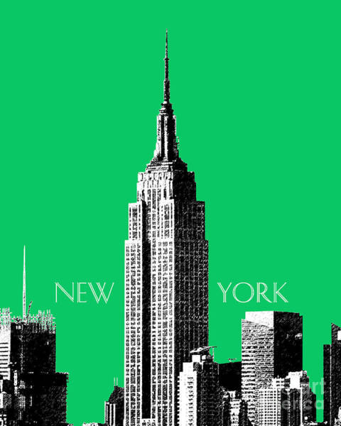 Wall Art - Digital Art - Empire State Building - Green by DB Artist