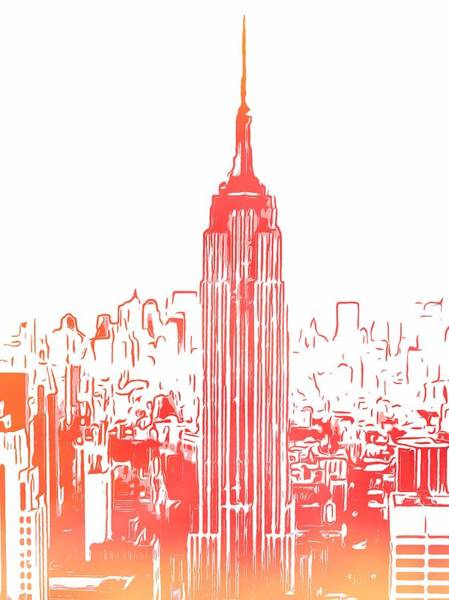 Empire State Building Digital Art - Empire State Building And Manhattan Skyline Sketch by Dan Sproul