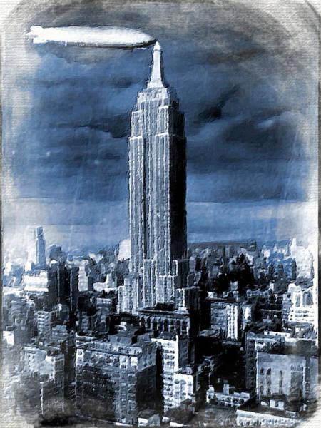 Manhattan Skyline Painting - Empire State Building Blimp Docking Blue by Tony Rubino