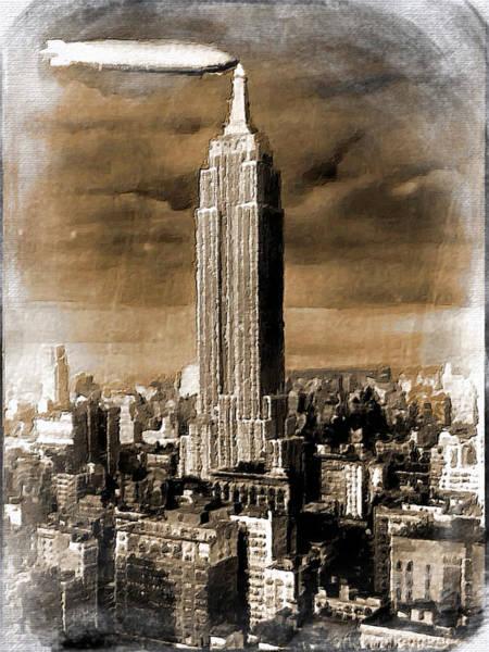 Manhattan Skyline Painting - Empire State Building Blimp Docking Sepia by Tony Rubino