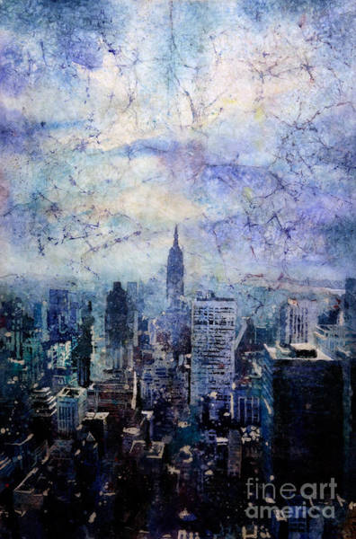 Wall Paper Painting - Empire State Building In Blue by Ryan Fox