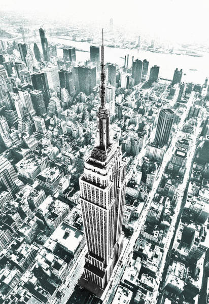 Photograph - Empire State Building Blue by Kim Lessel