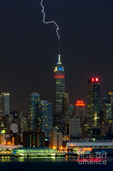 Photograph - Empire State Building Lightning Strike I by Clarence Holmes
