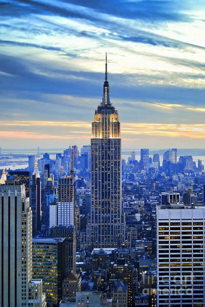 Blue Sky Wall Art - Photograph - Empire State Building New York City Usa by Sabine Jacobs