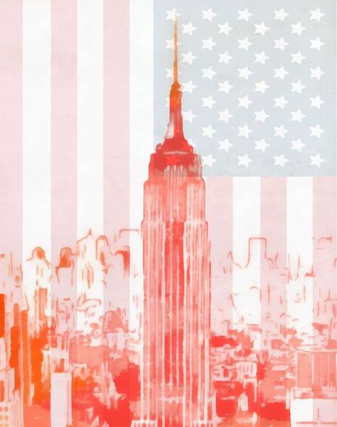 Manhattan Skyline Painting - Empire State Building On American Flag by Dan Sproul