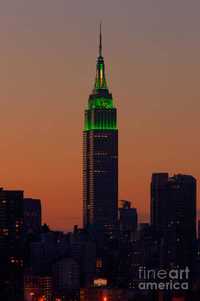 Photograph - Empire State Building Saint Patricks Day Lighting I by Clarence Holmes