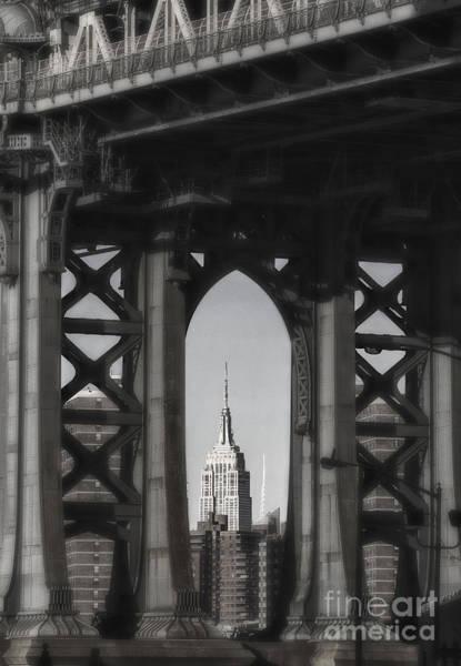 Photograph - Empire State Building Through Manhattan Bridge by Keith Kapple