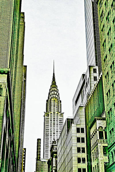 Mixed Media - Empire State Manhattan by Celestial Images