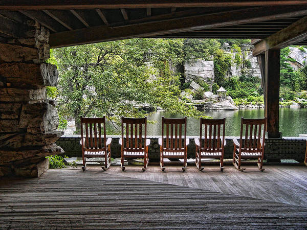 Catskills Photograph - Empty Chairs - Mohonk Mt. House by Donna Lee Blais