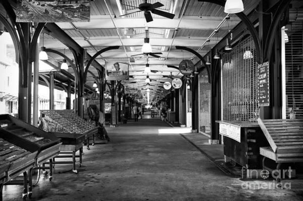 Photograph - Empty French Market Mono by John Rizzuto