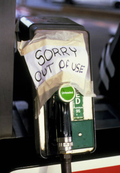 Crisis Photograph - Empty Petrol Pump by Garry Watson/science Photo Library