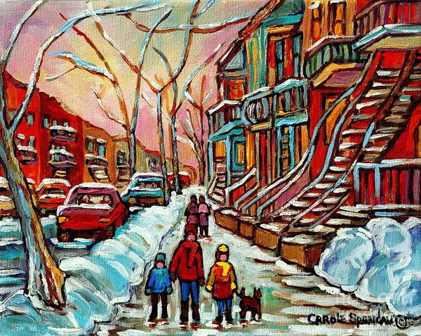 Painting - En Hiver Streets Of Verdun Walking The Dog Snowy Streets Montreal Winter City Scene Carole Spandau by Carole Spandau