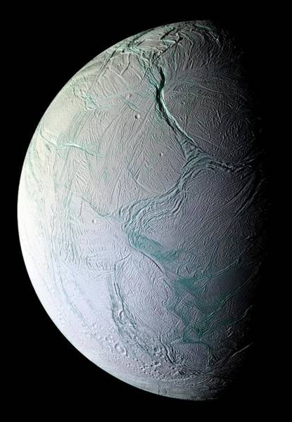 Chasm Photograph - Enceladus by Nasa/science Photo Library