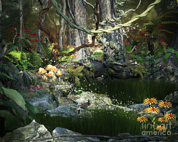 Digital Art - Enchanted Forest Background by Elle Arden Walby