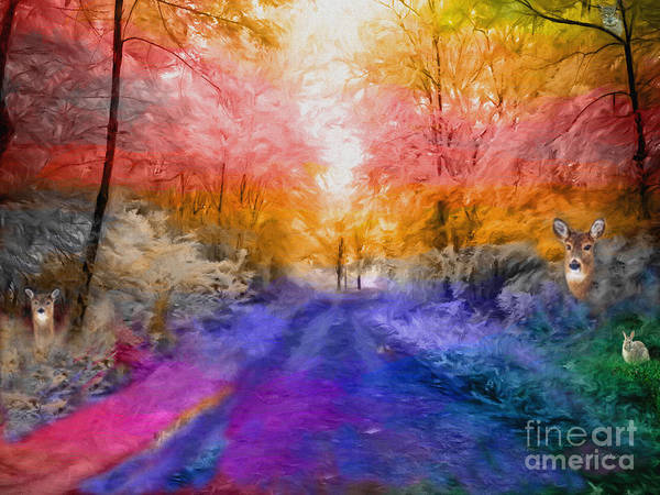 Wall Art - Digital Art - Enchanted Rainbow Forest  by Heinz G Mielke