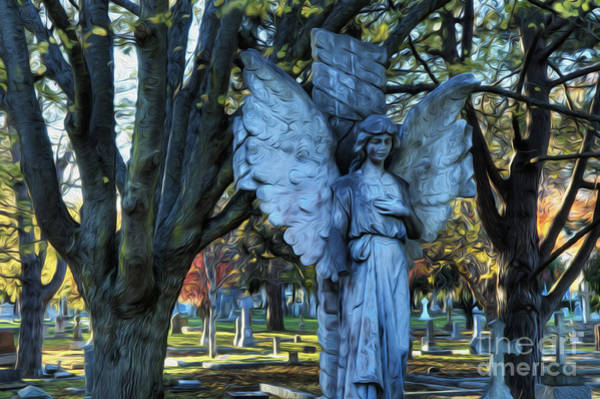 Grave Yard Photograph - Enchanted Spaces Cemetery Victoria Canada by Bob Christopher