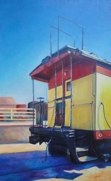 Red Caboose Painting - End Of An Era by Shannon Grissom