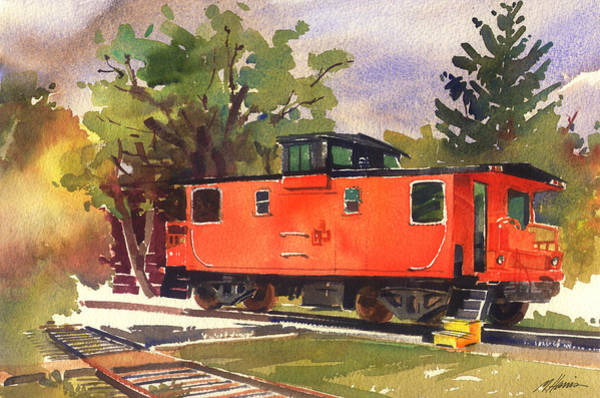 Red Caboose Painting - End Of The Line by Melissa Harris