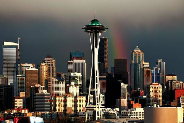 Seattle Skyline Photograph - End Of The Rainbow by Benjamin Yeager