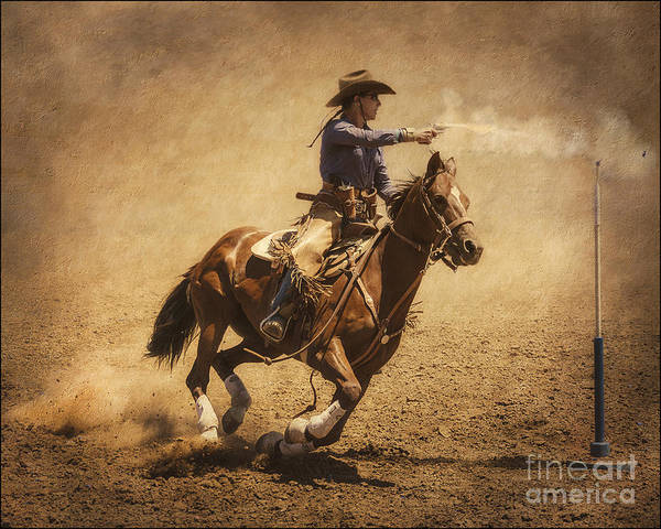 Cowboy Action Shooting Photograph - End Of Trail Mounted Shooting by Priscilla Burgers