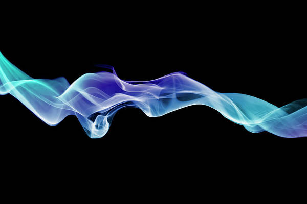No Smoking Wall Art - Photograph - Energetic Spirals Of Blue Smoke by Anthony Bradshaw
