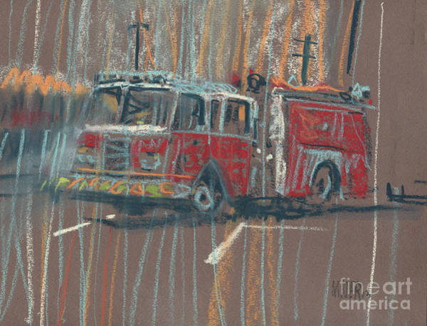 Fire Truck Wall Art - Painting - Engine 56 by Donald Maier