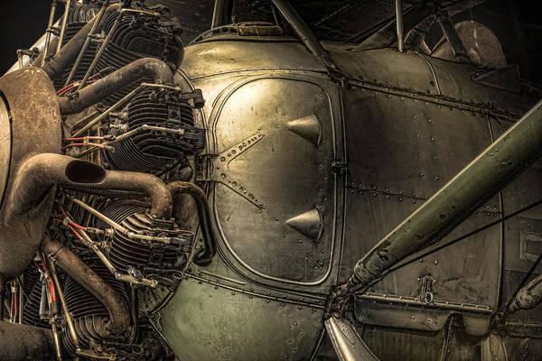 Radial Engine And Fuselage Detail - Radial Engine Aluminum Fuselage Vintage Aircraft Art Print