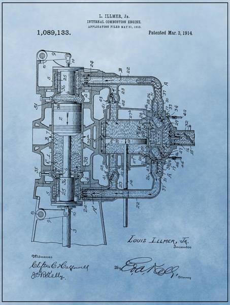 Engine Mixed Media - Engine Patent Blue by Dan Sproul
