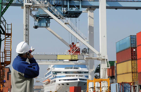 Wall Art - Photograph - Engineer On Site At Shipping Port by Christian Lagerek/science Photo Library