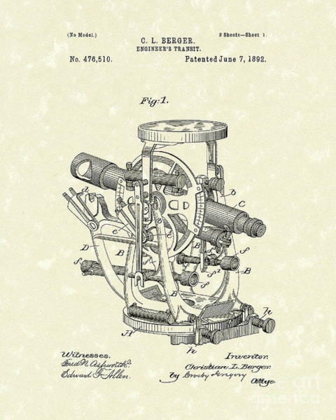 Drawing - Engineer's Transit 1892 Patent Art by Prior Art Design