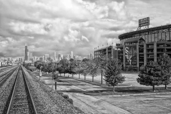 Wall Art - Photograph - Engineers View Chicago White Sox Us Cellular Field Bw by Thomas Woolworth