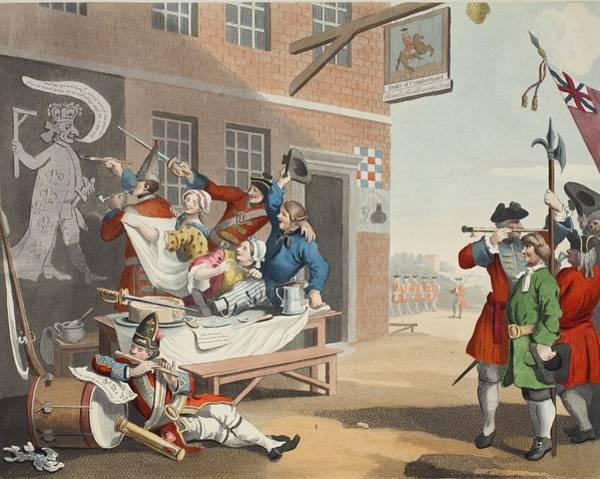 Allegory Wall Art - Drawing - England, Illustration From Hogarth by William Hogarth