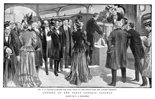 Railroad Station Drawing - England Railroad, 1899 by Granger