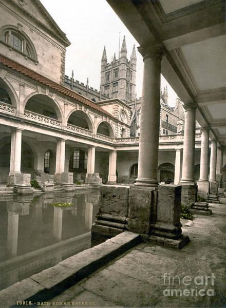 Bath Abbey Photograph - England: Roman Baths by Granger
