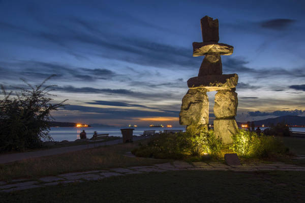 Photograph - English Bay Inukshuk by Ross G Strachan
