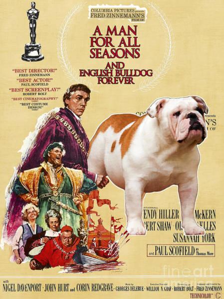 English Bulldog Painting - English Bulldog Art Canvas Print - A Man For All Seasons Movie Poster by Sandra Sij