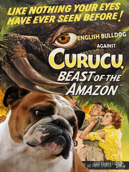 English Bulldog Painting - English Bulldog Art Canvas Print - Curucu Movie Poster by Sandra Sij