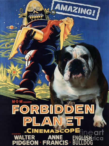 English Bulldog Painting - English Bulldog Art Canvas Print - Forbidden Planet Movie Poster by Sandra Sij