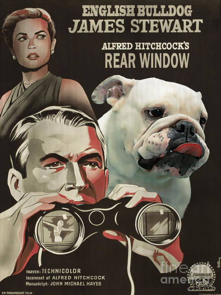 English Bulldog Painting - English Bulldog Art Canvas Print - Rear Window Movie Poster by Sandra Sij