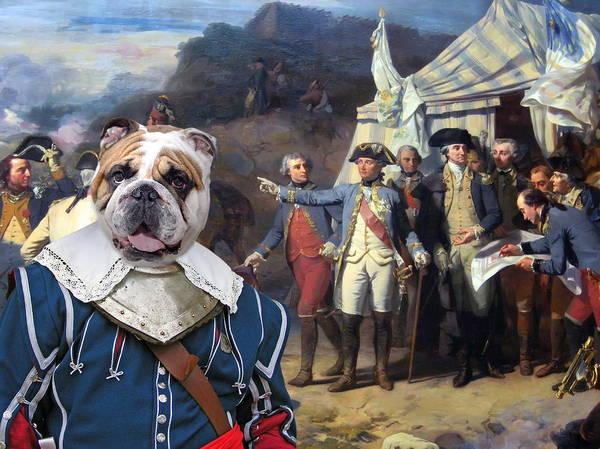 English Bulldog Painting - English Bulldog Art Canvas Print - The Battle Plan by Sandra Sij