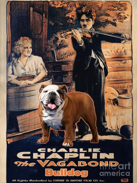 English Bulldog Painting - English Bulldog Art Canvas Print - The Vagabond Movie Poster by Sandra Sij