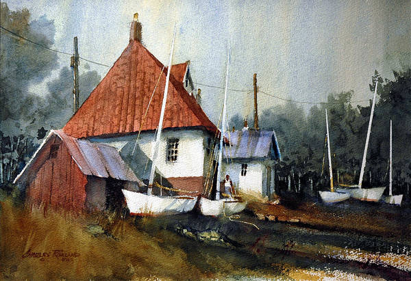 Painting - English Coastal Boatshed by Charles Rowland